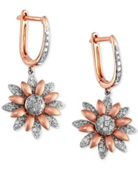Effy Collection Effy Diamond Flower Earrings 5 8 Ct. T.W. In 14K White And Rose Gold No Color