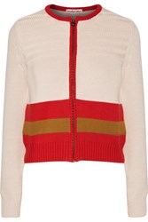 See By Chloe Color Block Textured Cotton Cardigan Off White