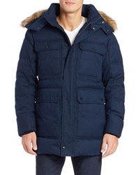 Marc New York Faux Fur Trimmed Puffer Coat Navy