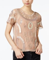 Bar Iii Embellished Illusion Top Only At Macy's Rose Gold