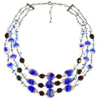 Alice Joseph Vintage 1930S 3 Row Silver Toned Frosted Glass Bead Necklace Admiral Blue Clear