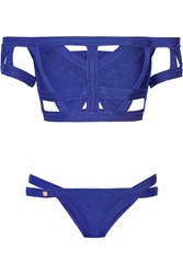 Herve Leger Off The Shoulder Cutout Bandage Bikini