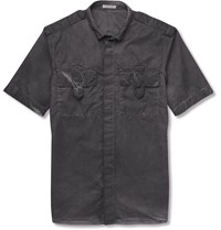 Bottega Veneta Slim Fit Garment Dyed Cotton Shirt Charcoal