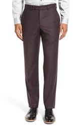 Ted Baker Men's London 'Frobisher' Flat Front Solid Wool Trousers Plum