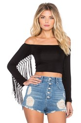 Sky Bender Fringe Top Black