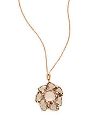Effy Pink Quartz Smoky Quartz And 14K Rose Gold Flower Pendant Necklace