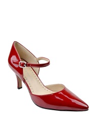 Adrienne Vittadini Jon Suede Ankle Strap Pumps Red Patent