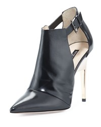 Ruthie Davis Point Toe Leather Ankle Bootie Black Rose Gold