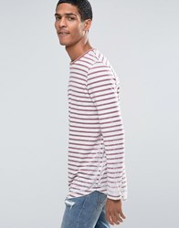 Asos Longline Long Sleeve T Shirt With Burnout Stripe And Curve Hem White Red