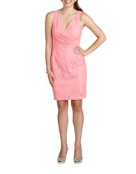 Donna Morgan Floral Lace Surplice Sheath Dress Cherry Blossom