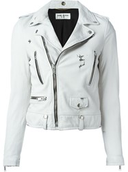 Saint Laurent Cropped Biker Jacket White