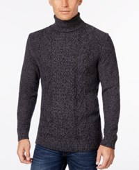 Tasso Elba Men's Big And Tall Turtleneck Mixed Stitch Sweater Only At Macy's Black Twist