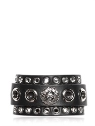 Versus Lion Head And Eyelet Leather Cuff Bracelet