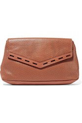 Rebecca Minkoff Sardinia Small Perforated Leather Clutch Brown