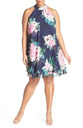 Plus Size Women's Eliza J Floral Print Chiffon Halter Dress