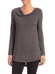 Black Sail Long Sleeve Marble Jersey Knit Top Charcoal