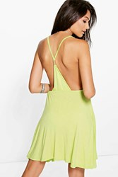 Boohoo Strappy Back Detail Skater Dress Lime