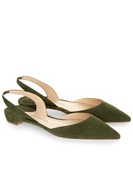 Paul Andrew Olive Suede Slingback Rhea Sandals Green