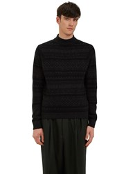 Ermenegildo Zegna Mock Neck Jacquard Knit Sweater Grey