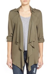 Living Doll Drape Front Shirt Jacket Olive