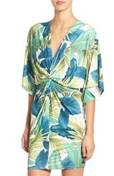 Missguided Women's Palm Print Front Knot Dress Green