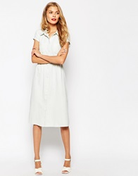 Oh My Love Denim Button Down Dress Offwhite