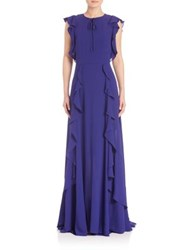 Escada Ruffle Pleated Gown Open Blue