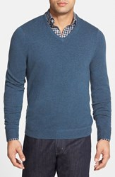 Men's Big And Tall John W. Nordstrom Cashmere V Neck Sweater Blue Forever