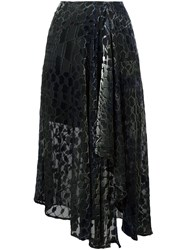 Lala Berlin Asymmetric Velvet Skirt Black
