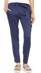 Vince Linen Belted Trousers Blue Marine
