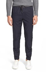 Men's Vince Twill And Leather Jogger Pants Dark Twilight