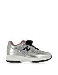 Hogan Club Silver Leather And Glitter Wedge Sneakers