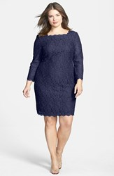 Adrianna Papell Plus Size Women's Lace Overlay Sheath Dress Navy