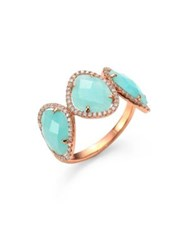 Meira T Light Amazonite Diamond And 14K Rose Gold Three Stone Ring Rose Gold Amazonite