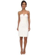 Donna Morgan Strapless Lace Short Dress Ivory Women's Dress White