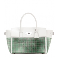 Mulberry Bayswater Buckle Woven Leather Tote Jungle Green Cream