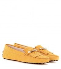 Tod's Heaven Frangia Spilla Suede Loafers Yellow