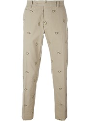 Fendi Light Bulb Embroidered Chinos Nude And Neutrals