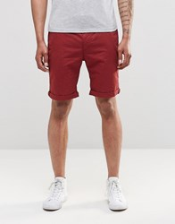 Bellfield Chino Shorts Bordeaux Red