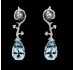 Lorenz Baumer Vegetale Aquamarine Earrings Blue