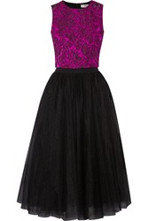 Badgley Mischka Jacquard And Tulle Top And Skirt Set Purple