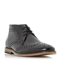 Linea Muddled Leather Brogue Boots Black