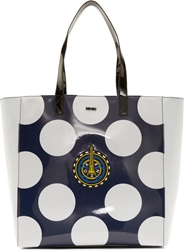 Kenzo Navy And White Pvc Dots Tote