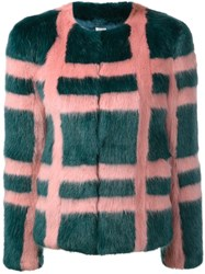 Shrimps 'Gustav' Faux Fur Plaid Coat Pink Purple