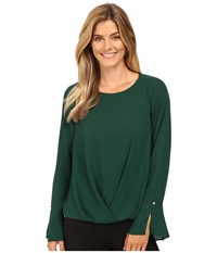 Vince Camuto Flutter Cuff Fold Over Blouse Forest Night Women's Blouse Green