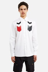 Xander Zhou Chevron Patched Button Down Shirt White