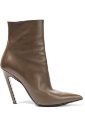Balenciaga Leather Ankle Boots Brown