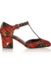Dolce And Gabbana Floral Brocade T Bar Pumps Red