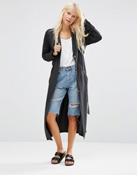 Minimum Katy Drapey Longline Jacket Smoke Black