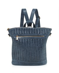 Neiman Marcus Distressed Woven Square Backpack Navy
